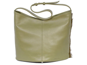 Hobo Springbok Handbag in Military Green with a Fan by Sherene Melinda Fan Back