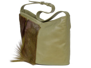 Hobo Springbok Handbag in Military Green with a Fan by Sherene Melinda Fan Front Right