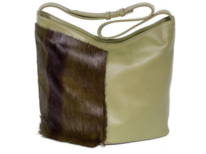 Hobo Springbok Handbag in Military Green with a Stripe by Sherene Melinda Stripe Front