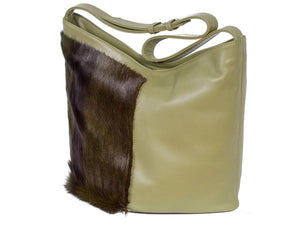 Hobo Springbok Handbag in Military Green with a Stripe by Sherene Melinda Stripe Front Right