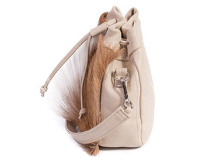 sherene melinda springbok hair-on-hide natural leather pouch bag Fan side