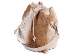 sherene melinda springbok hair-on-hide natural leather pouch bag Fan side angle
