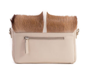 sherene melinda springbok hair-on-hide natural leather shoulder bag Fan back