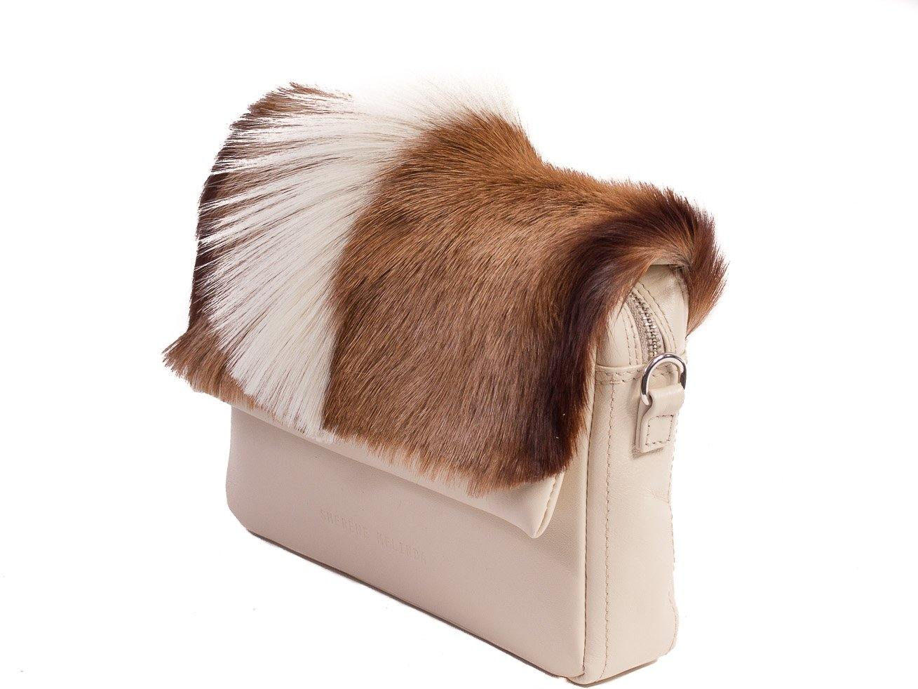 sherene melinda springbok hair-on-hide natural leather shoulder bag Fan  side angle d112db5d683ec