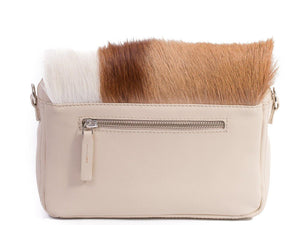 sherene melinda springbok hair-on-hide natural leather shoulder bag Stripe back