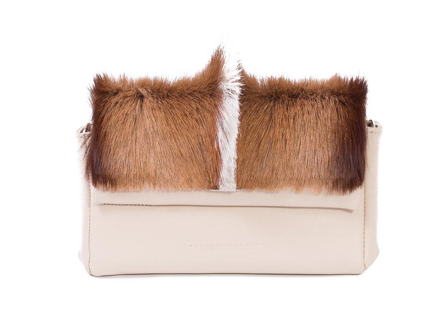 sherene melinda springbok hair-on-hide natural leather Sophy SS18 Clutch Bag fan front strap
