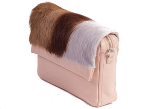 sherene melinda springbok hair-on-hide nude leather shoulder bag Stripe side angle