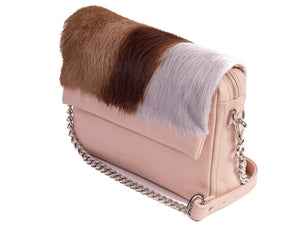 sherene melinda springbok hair-on-hide nude leather shoulder bag Stripe side angle strap