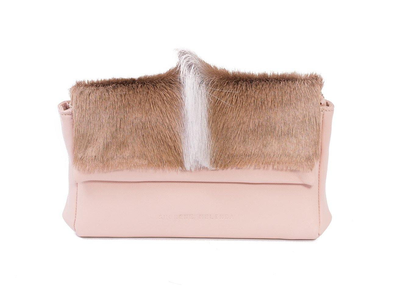 sherene melinda springbok hair-on-hide nude leather Sophy SS18 Clutch Bag fan front strap