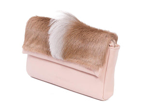 sherene melinda springbok hair-on-hide nude leather Sophy SS18 Clutch Bag fan side angle