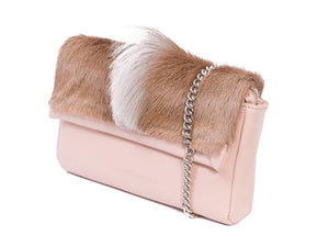 sherene melinda springbok hair-on-hide nude leather Sophy SS18 Clutch Bag fan side angle strap