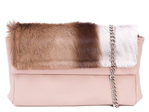 sherene melinda springbok hair-on-hide nude leather Sophy SS18 Clutch Bag stripe front strap