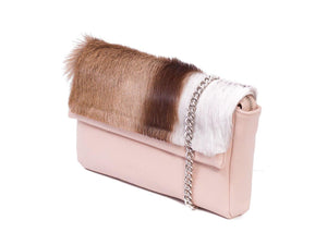 sherene melinda springbok hair-on-hide nude leather Sophy SS18 Clutch Bag Stripe side angle strap
