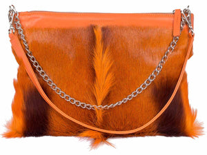 Multiway Springbok Handbag in Orange with a Fan by Sherene Melinda Front Strap