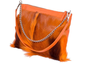 Multiway Springbok Handbag in Orange with a Fan by Sherene Melinda Side Angle Strap