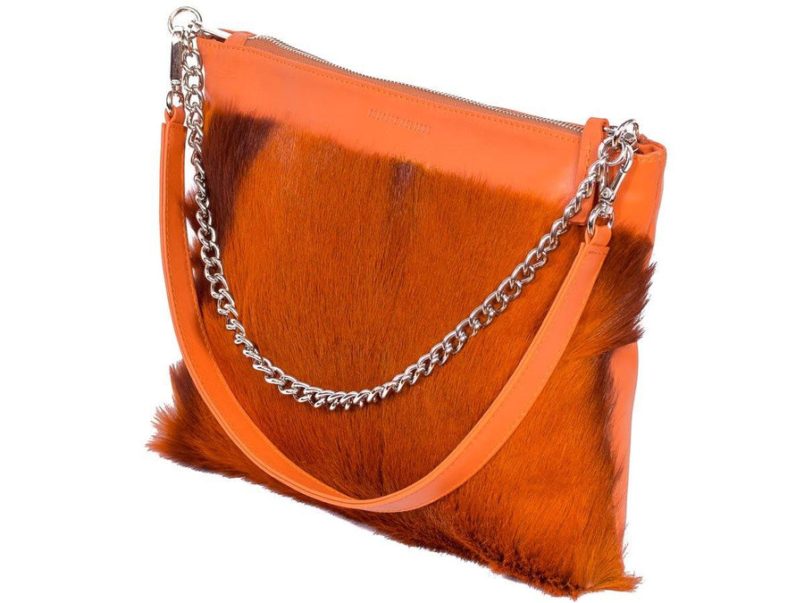 Multiway Springbok Handbag in Orange with a Stripe by Sherene Melinda Front Strap