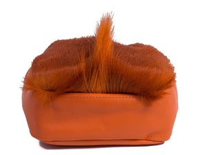 sherene melinda springbok hair-on-hide orange leather pouch bag Fan bottom