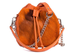 sherene melinda springbok hair-on-hide orange leather pouch bag stripe front strap