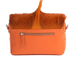 sherene melinda springbok hair-on-hide orange leather shoulder bag Fan back