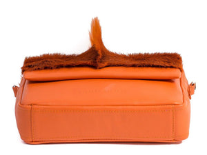 sherene melinda springbok hair-on-hide orange leather shoulder bag Fan bottom
