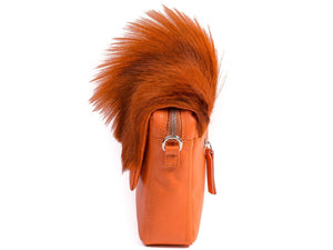 sherene melinda springbok hair-on-hide orange leather shoulder bag Fan side