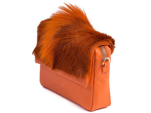 sherene melinda springbok hair-on-hide orange leather shoulder bag Fan side angle