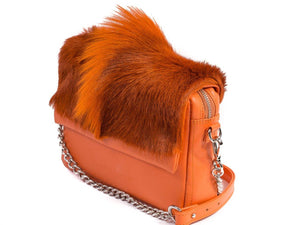 sherene melinda springbok hair-on-hide orange leather shoulder bag Fan side angle strap