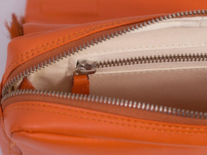 sherene melinda springbok hair-on-hide orange leather shoulder bag inside