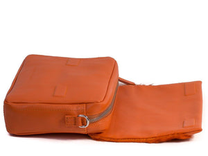 sherene melinda springbok hair-on-hide orange leather shoulder bag open
