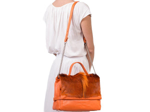 sherene melinda springbok hair-on-hide orange leather smith tote bag fan context