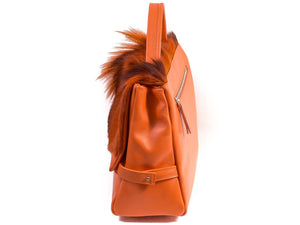 sherene melinda springbok hair-on-hide orange leather smith tote bag Fan side