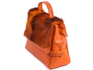 sherene melinda springbok hair-on-hide orange leather smith tote bag Fan side angle