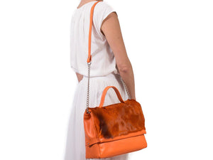 sherene melinda springbok hair-on-hide orange leather smith tote bag stripe context