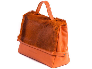 sherene melinda springbok hair-on-hide orange leather smith tote bag Stripe side angle
