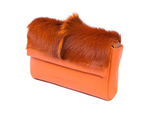 sherene melinda springbok hair-on-hide orange leather Sophy SS18 Clutch Bag Fan front