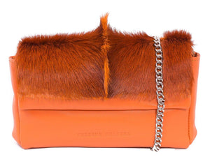 sherene melinda springbok hair-on-hide orange leather Sophy SS18 Clutch Bag Fan front strap