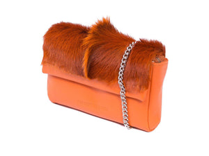 sherene melinda springbok hair-on-hide orange leather Sophy SS18 Clutch Bag Fan side angle strap