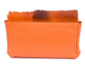 sherene melinda springbok hair-on-hide orange leather Sophy SS18 Clutch Bag Stripe back