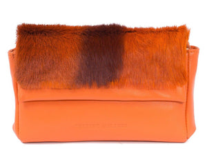 sherene melinda springbok hair-on-hide orange leather Sophy SS18 Clutch Bag Stripe front