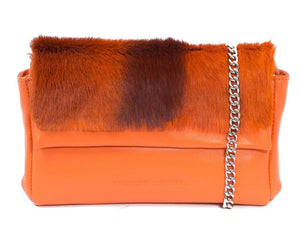 sherene melinda springbok hair-on-hide orange leather Sophy SS18 Clutch Bag stripe front strap