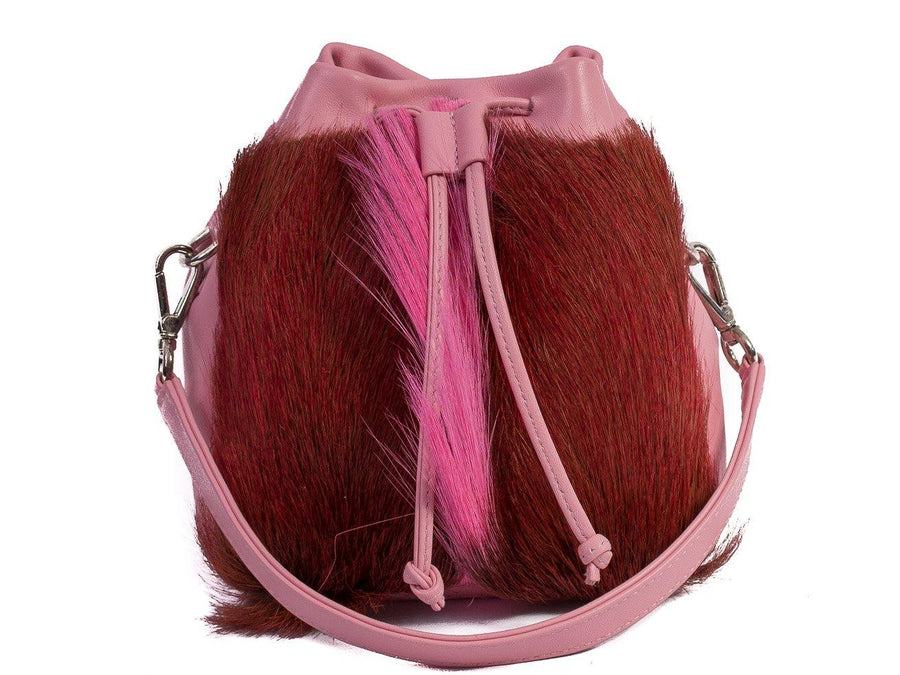 sherene melinda springbok hair-on-hide pink leather pouch bag fan front strap