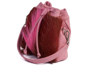 sherene melinda springbok hair-on-hide pink leather pouch bag Fan side angle