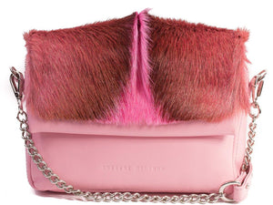 sherene melinda springbok hair-on-hide pink leather shoulder bag fan front strap