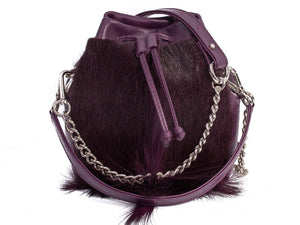 sherene melinda springbok hair-on-hide plum leather pouch bag fan front strap