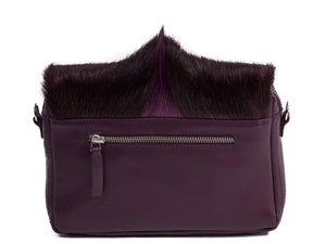 sherene melinda springbok hair-on-hide plum leather shoulder bag Fan back