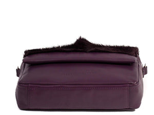 sherene melinda springbok hair-on-hide plum leather shoulder bag Fan bottom