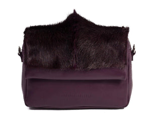 sherene melinda springbok hair-on-hide plum leather shoulder bag Fan front