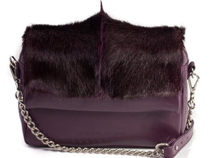 sherene melinda springbok hair-on-hide plum leather shoulder bag fan front strap