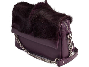 sherene melinda springbok hair-on-hide plum leather shoulder bag Fan side angle strap