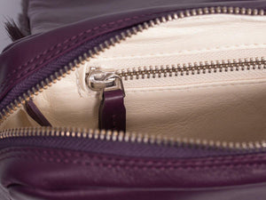 sherene melinda springbok hair-on-hide plum leather shoulder bag inside